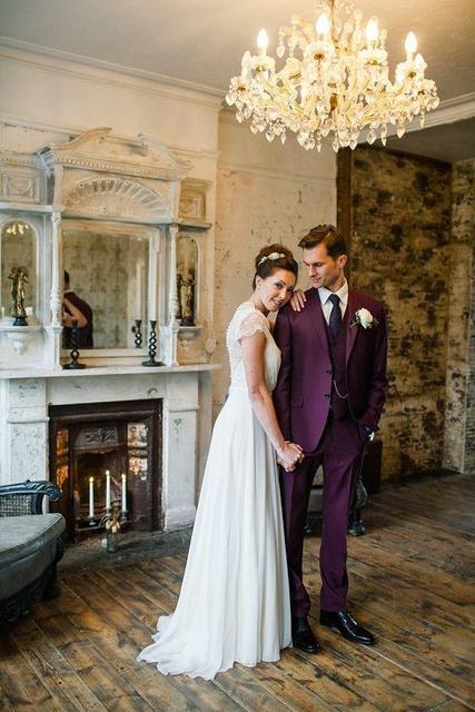 Vintage Lila Herren Anzuge Kerb Revers Smoking Fur Manner Hochzeit