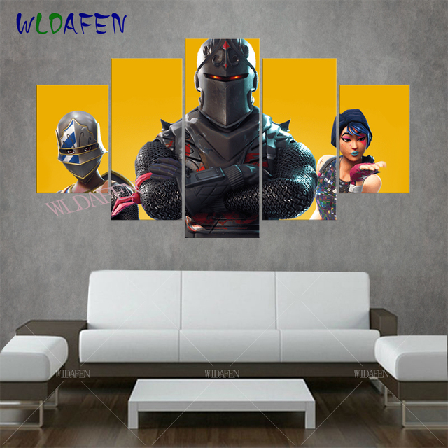 Fortnite battle royale game anime poster 5 pieces canvas for Modern house fortnite