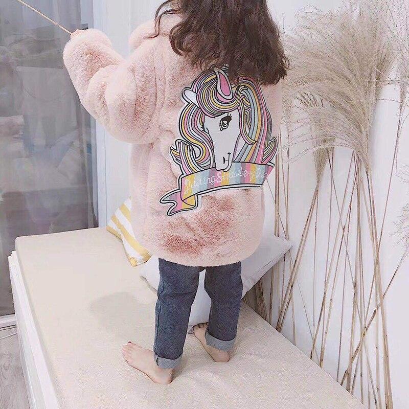 Girls Faux Fur Coat Kids Fur Jackets Unicorn Embroidery Baby Girls Fur Coat Autumn Winter Princess Girls Coat Children Snowsuit faux fur cuff pearl beading scallop dress