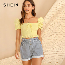 cc5c3e9ec8b SHEIN Boho Yellow Knot Front Puff Sleeve Ruffle Detail Shirred Blouse Crop  Top Women Summer Square Neck Slim Fitted Cute Blouses