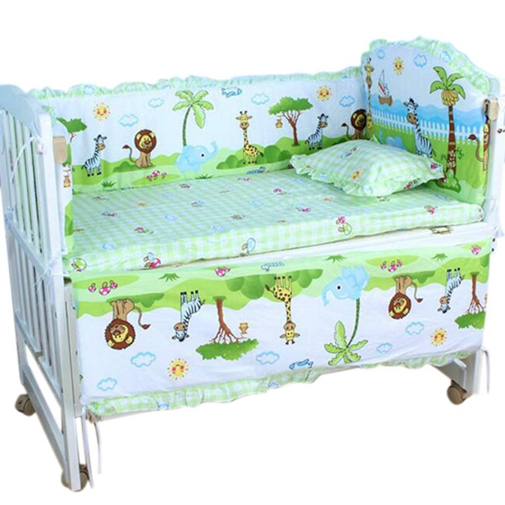 Baby Cot <font><b>Bedding</b></font> Toddler Baby <font><b>Bedding</b></font> Set Newborn <font><b>Crib</b></font> Kids Bumper Sets Backrest+Mattress+Long Bumper+Short Bumper+Pillow