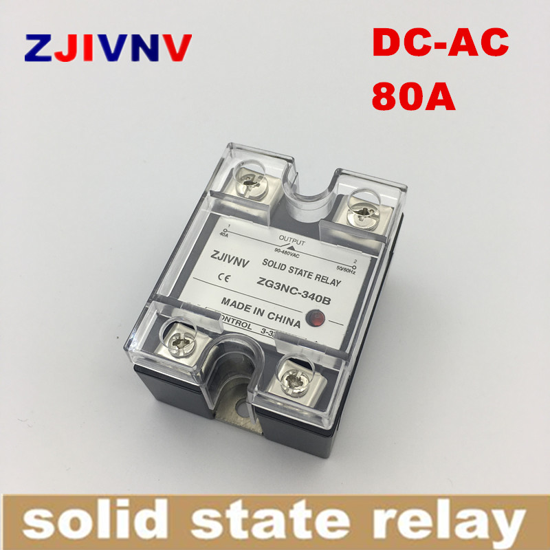 цена на single phase solid state relay DC-AC 80A SSR 80DA ,DC Control ac ZG3NC-380B Zero crossing type full load current