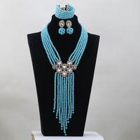 Teal Blue Wedding Necklace for Brides 2017 Birthday Gift Set African Gold Accessories Jewelry New Free Shipping WD807