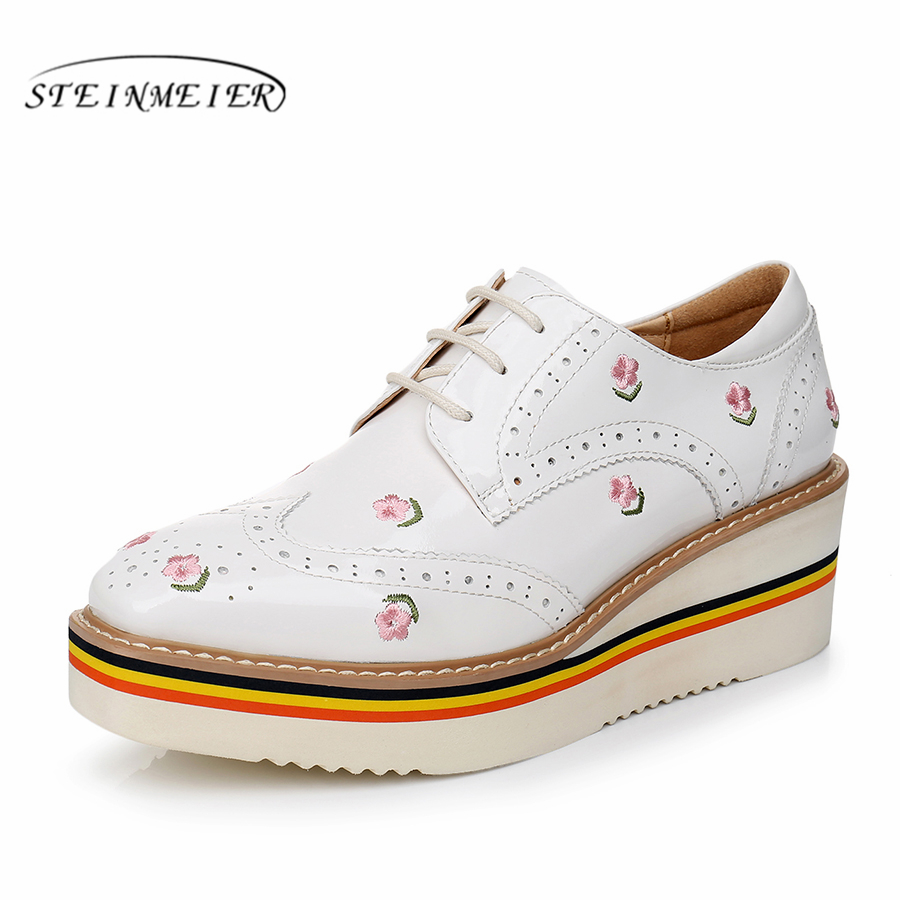 Yinzo Women's Flats Oxford Shoes Woman Genuine Leather platform Sneakers Ladies Brogues Vintage Casual Shoes For Women Footwear|Women's Flats| |  - title=