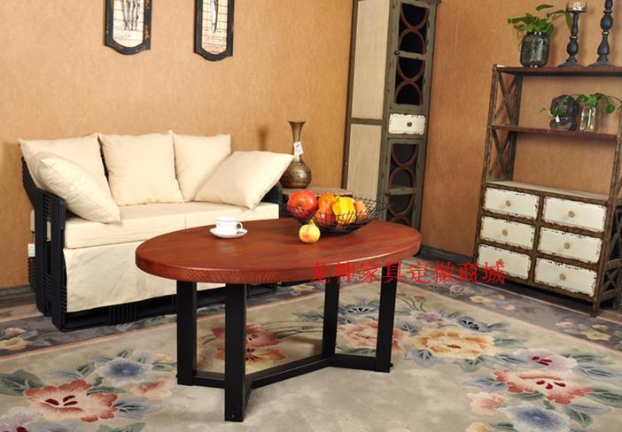 American village estilo loft oval mesa de centro de madera for Muebles de fierro forjado