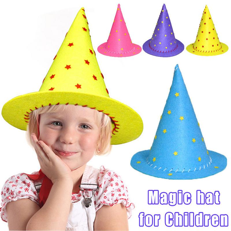 Party Witch Hat Magic Hat For Children Handmade DIY Kindergarten Educational Toys Halloween Gifts Hat