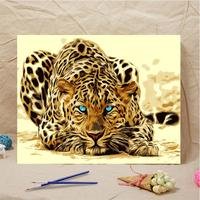 DIY Painting By Numbers On Canvas Leopard Animal Oil Painting Frameless Picture Home Wall Decor Living