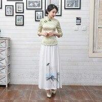 White Flower Women S Cotton Shirt Chinese Style Vintage Blouse Spring Autumn Elegant Button Tops Clothing