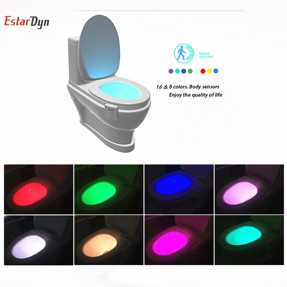 16Colors PIR Motion Sensor Toilet Seat Novelty LED Lamp Waterproof Backlight For Toilet Bowl LED Luminaria WC Toilet Night Light