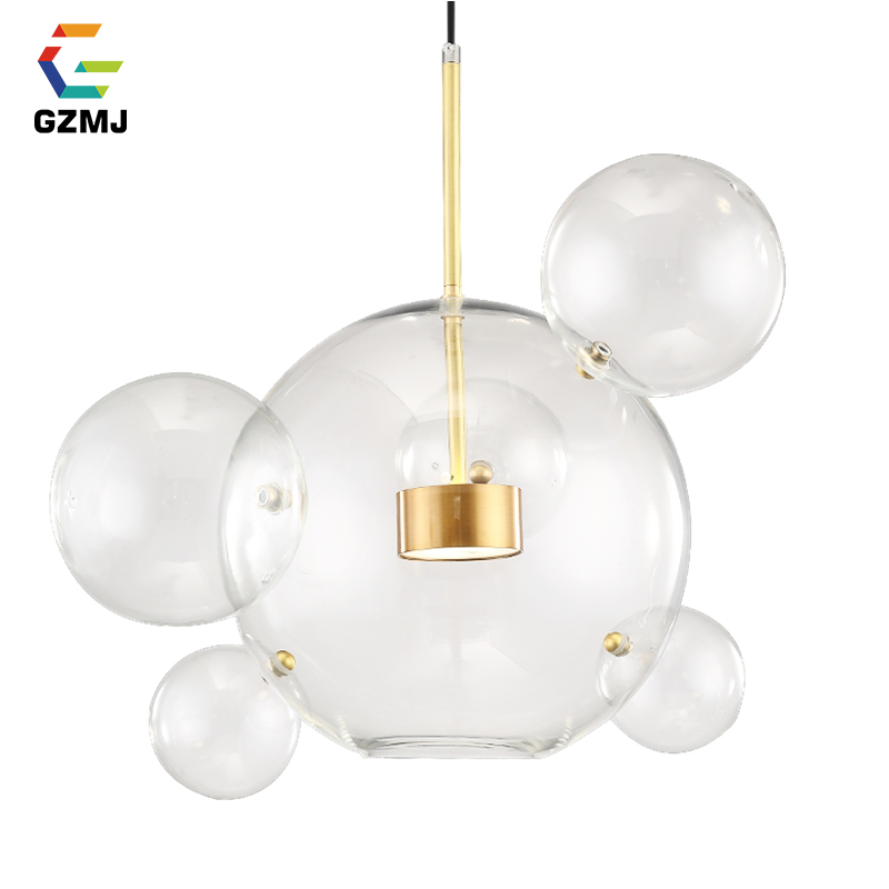 GZMJ Nordic Style Glass Ball LED Pendant Lights Modern Creative Bedroom Hanging Lamp Dining Room Living Room Bubble Hanglamp Pendant Lights     - title=
