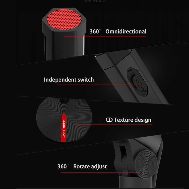 ميكروفون الكاريوكي الصوتية سجل الغناء استوديو الكمبيوتر USB 3.5 مللي متر للكمبيوتر Vol ضبط التبديل تدوير مرنة المهنية Mic