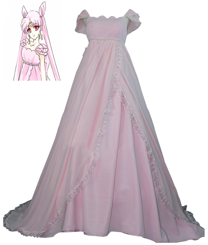 Anime Sailor Moon Princess Chibiusa Pink Dress Cosplay Costume Gown Lolita Party Chiffon Dress