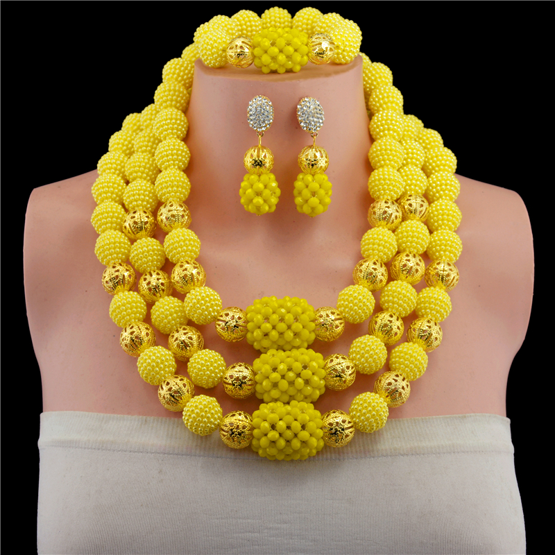 Yellow Nigerian Wedding African Beads Jewelry Sets Bohemian Handmade Acrylic Beads Earrings Necklace Bridal Chain Women Dress Se ...