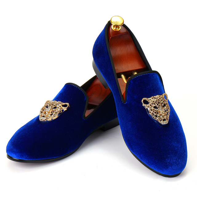 Animal Buckle Men Classic Wedding Shoes Blue Velvet Loafers Diamond Dress  Shoes Red Bottom Sole Free
