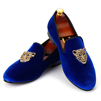 Animal Buckle Men Classic Wedding Shoes Blue Velvet Loafers Diamond Dress Shoes Free Shipping Size 6 14