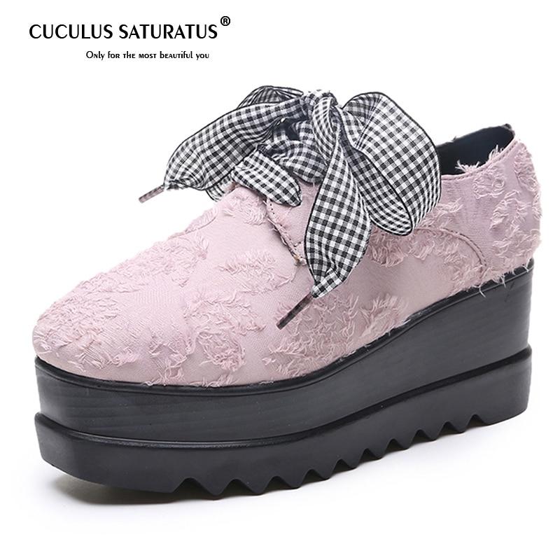 Ehrgeizig Cuculus Plattform Brogue Schuhe Lace-up Synthetische Frauen Oxfords Creepers Frühling Mode Wohnungen Loafers Schuhe Frau 1054 Weich Und Rutschhemmend