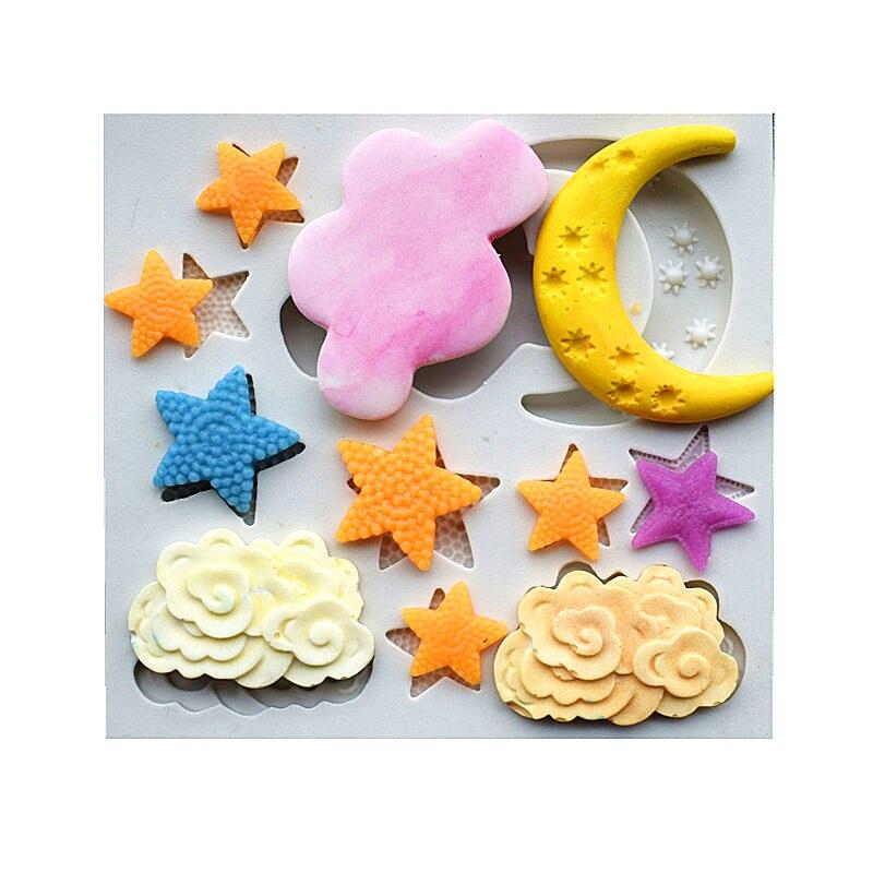 새로운 도착 하늘 테마 케이크 금형, 스타 / Coud / 문 Fondant 실리콘 몰드, 케이크 장식 도구, 주방 액세서리 SQ1705