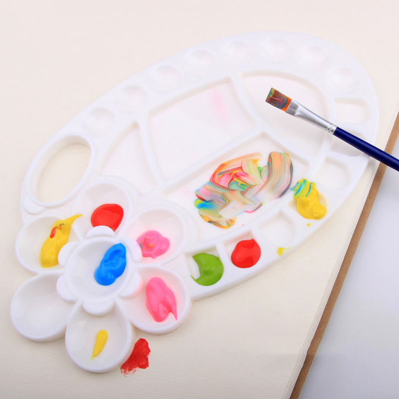 Multi-function Six-Leaf Flower Shape Plastic Palette ColorfulArtist Acrylic Watercolor Painting Palette Drawing Tool Supplies