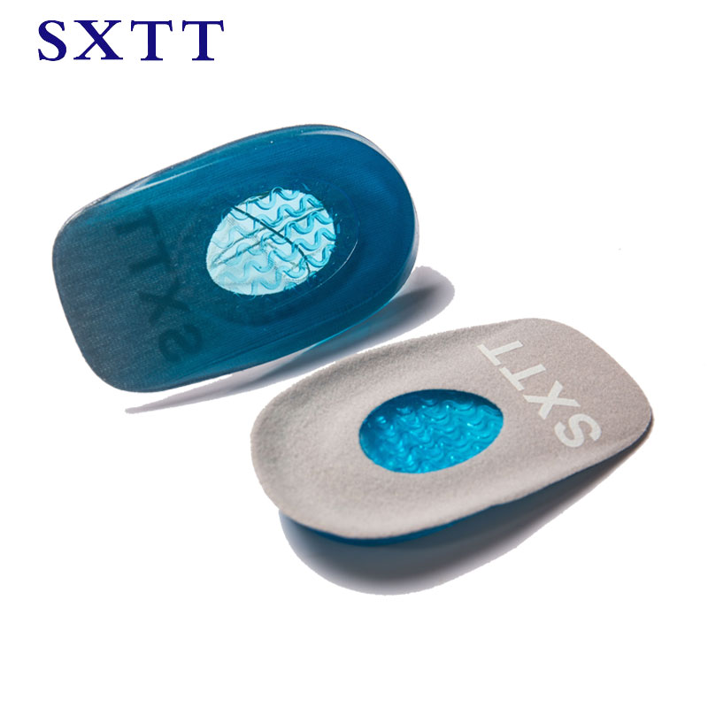 SXTT New Silicone Gel Insoles Back Pad Heel Cup for Calcaneal Pain Health Feet Care Support spur feet cushion silica pads
