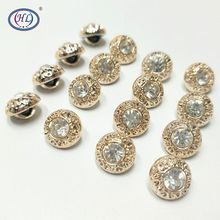 HL 30/50PCS/150PCS 11MM New Plating Buttons With Rhinestones Shank DIY Apparel Sewing Accessories Shirt