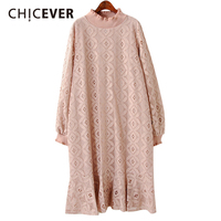 CHICEVER Spring Lace Ruffles Women Dress Lantern Sleeve Loose Big Size Pullovers Black Dresses Female Clothes