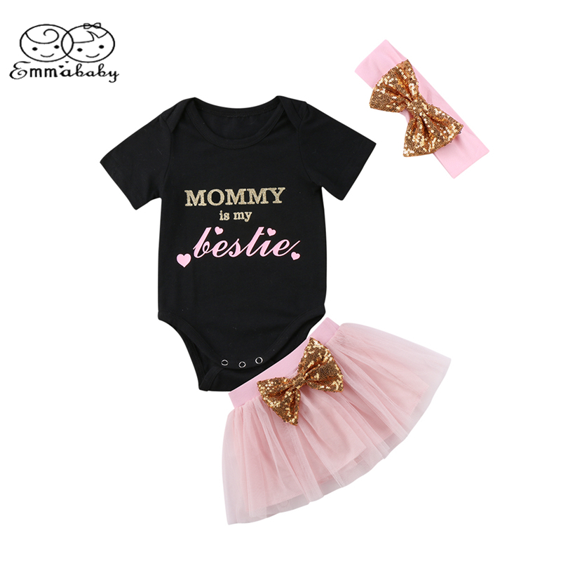 Emmababy Newborn Baby Girl Letter Print Short Sleeve Romper+Mini Tutu Lace Princess Skirt+Bow 3PCS Set Outfits Clothes