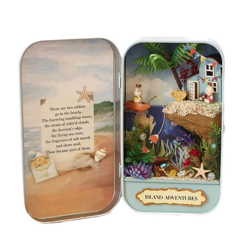 DIY house set Decoration Case Tinplate Box Snow Dream Forest Rhapsody Island Adventures Three themes DIY Houses Box