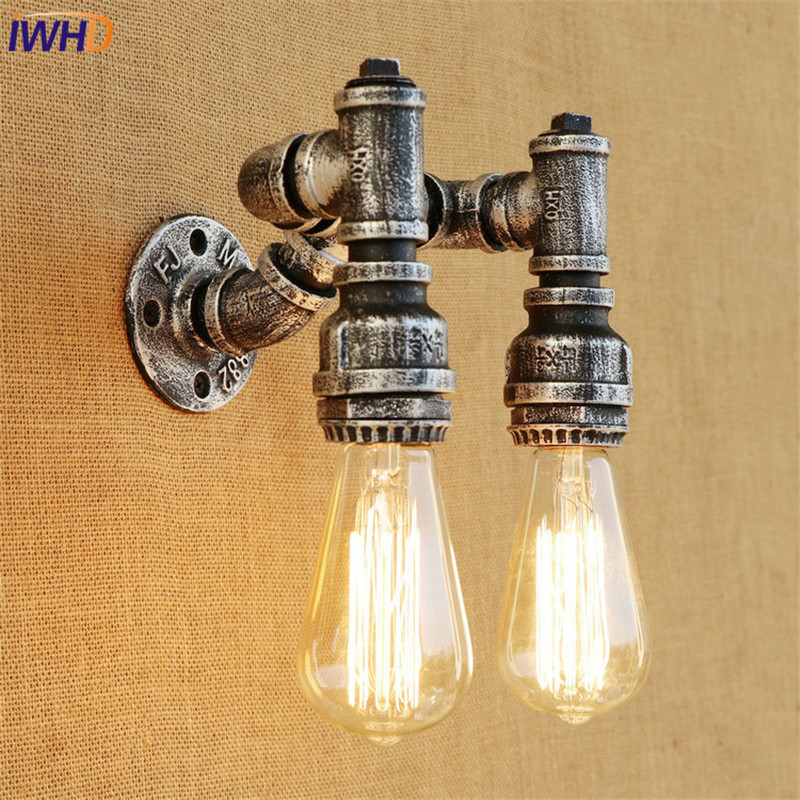 IWHD Retro Loft Style Iron Water Pipe Lamp Edison Wall Sconce Industrial Vintage Wall Light Fixtures Indoor Lighting все цены