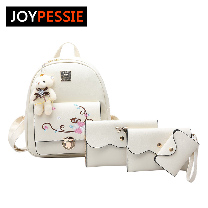 JOYPESSIE Small Women Backpacks female School Bags For Teenage Girls Black PU Leather Women Backpack Shoulder