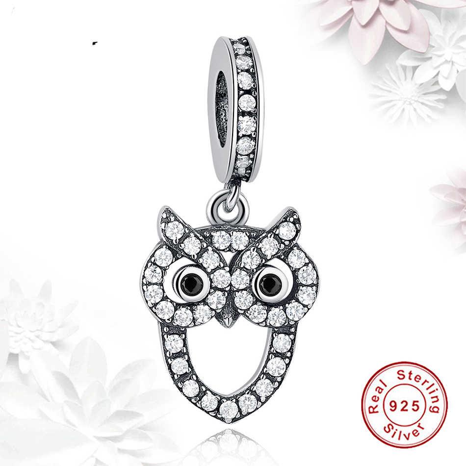 ELESHE высокое качество стерлингового серебра 925 Милая яркая Сова Подвески бусины для оригинальной Подвески Браслеты для женщин ювелирные изделия подарок