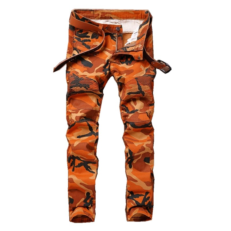 Men's Camouflage Orange Biker Jeans Trousers Motocycle Camo Slim Fit COOL Fashion Design Slim Army Hip Hop Denim Pants