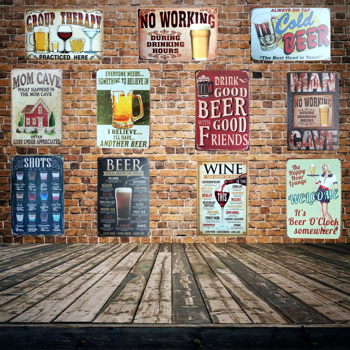 [Mike86] Beer Pratice Here Muestra de metal PUB Casa Hotel Decoración Vintage Pintura Cartel de la pared Arte 20 * 30 CM Mix Items AA-455