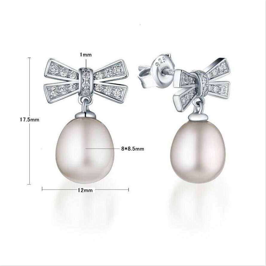 925 sterling silver simple temperament bow pearl earring female J073 in Earrings from Jewelry Accessories