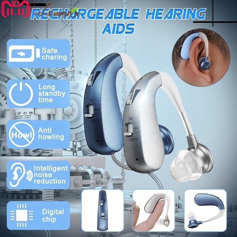 Wiederaufladbare Mini Digitale Hörgeräte Ton Verstärker Drahtlose Ohr Aids für Ältere Moderate zu Schweren Verlust Drop Verschiffen
