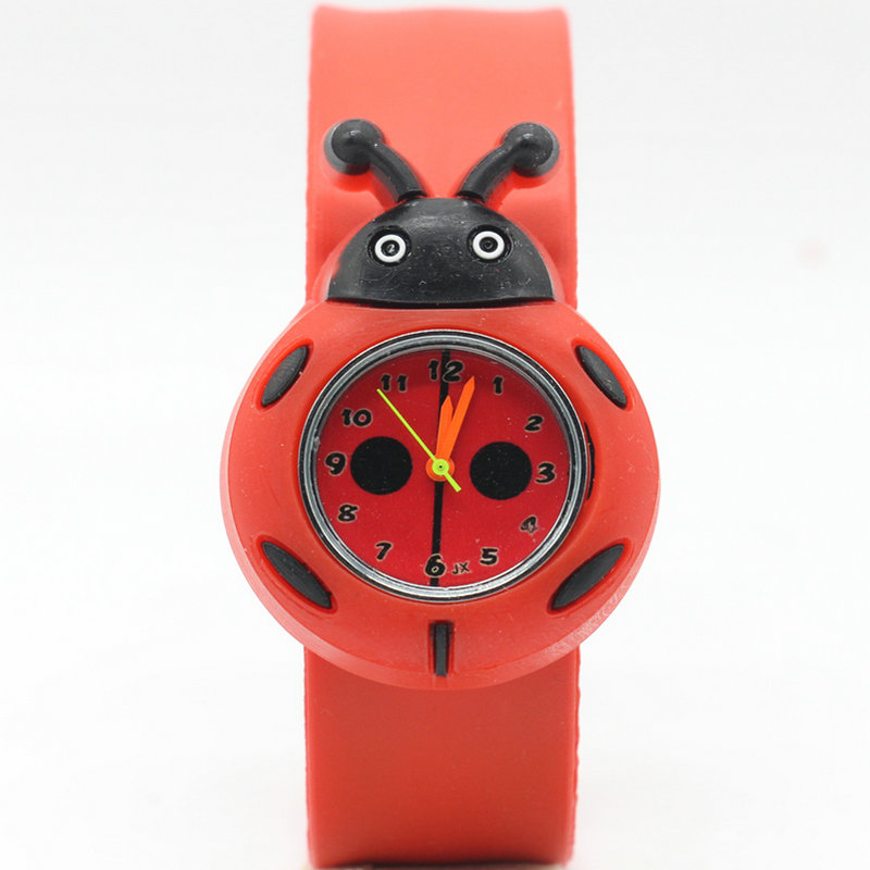 Lovely Children's Analog Ladybug Bendable Plastic Strap Kids Slap Watch Free Shipping 1pcs