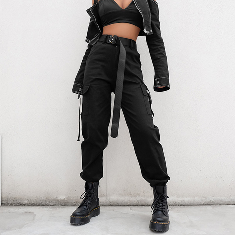 Women Black High Waist Cargo   Pants   Casual Long Elastic Pocket Loose Streetwear Pencil Trousers Korean Style Ladies   Pants     Capri