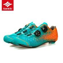SANTIC дорожные велосипедные кроссовки PRO спортивные гоночные командные велосипедные самоблокирующиеся кроссовки из углеродного волокна Нескользящие дышащие кроссовки MS17007