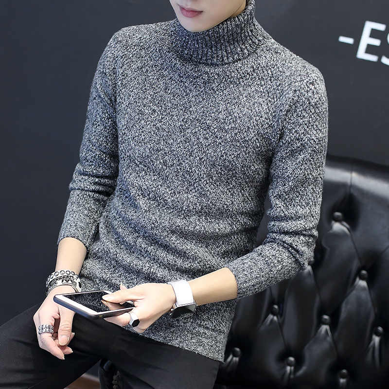 Men/'s Loose Fit Turtleneck Sweater Korean Knitted Winter Thick Tops Blouse Ths01