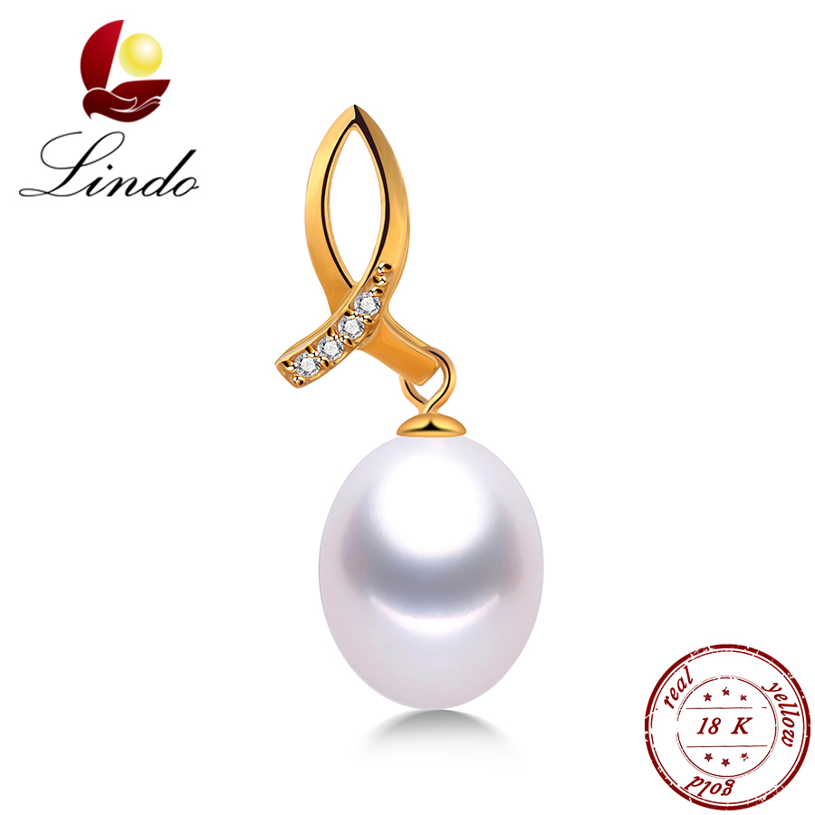 Lindo 9-10mm Real Natural Freshwater Pearl Necklace Women 18K Gold Pendant Top Quality Yellow Solid Gold Jewelry Luxury Zircon