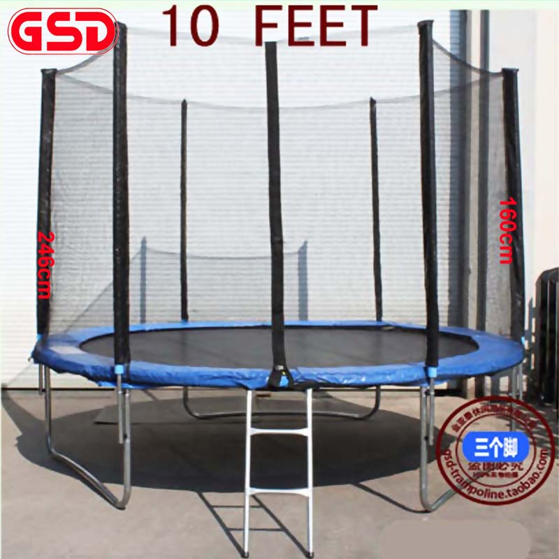 GSD 10 Feet Spring Trampoline Jumpping With Safe Net Fits and 3Legs Ladder TUV-GS Was Approved