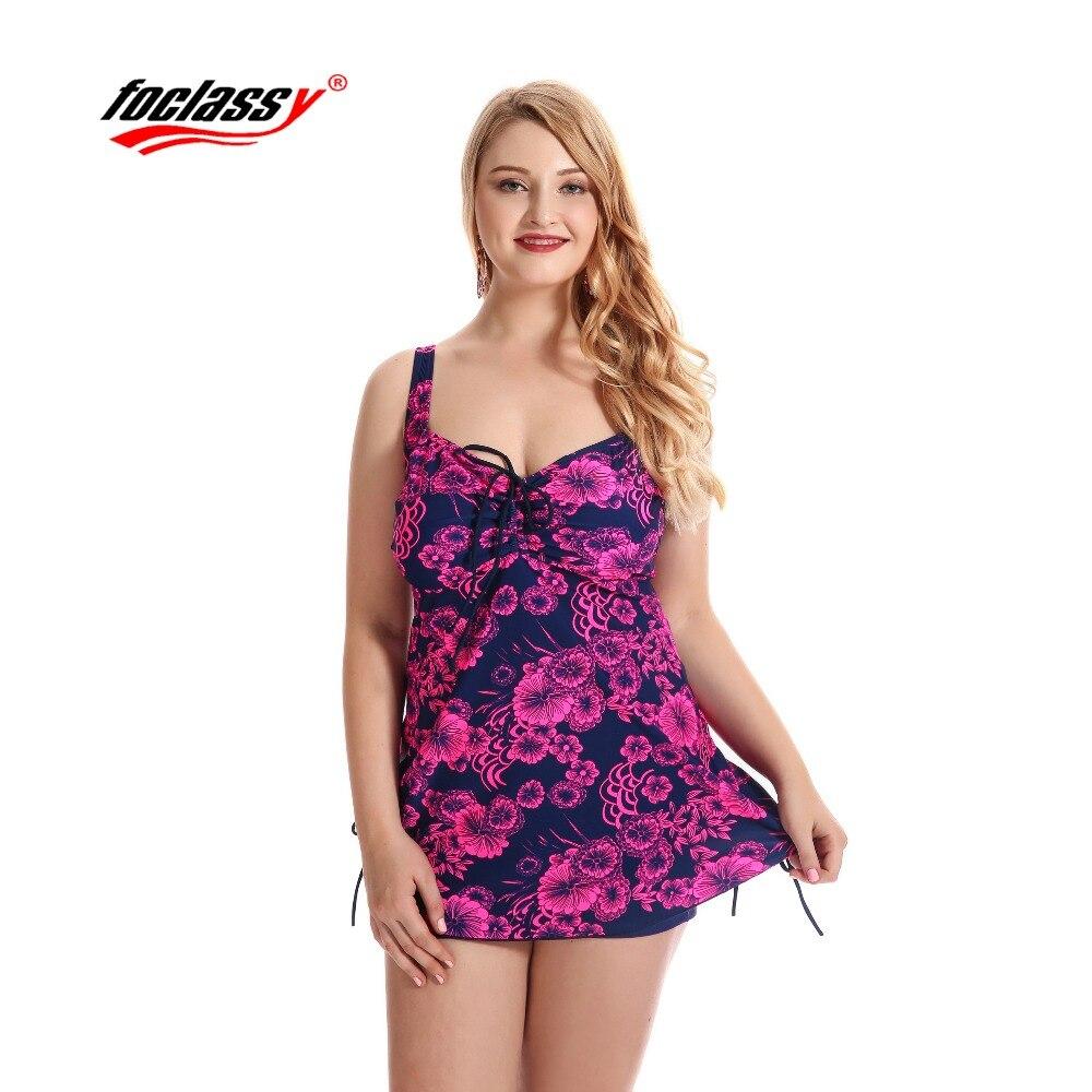 Foclassy Hot Two Piece Plus Size Women Swimwear Swimsuit Push Up Big Bust Summer Beachwear Bathingsuit Trunks Long Swimdressress