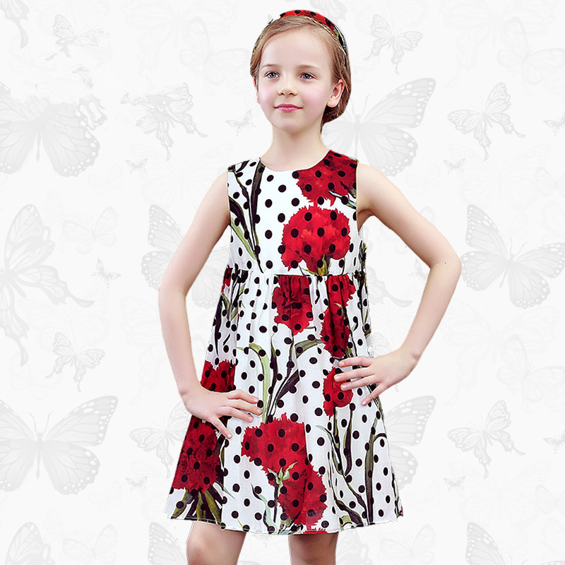 Girls dress summer dress polka dot floral summer children princess dress girl children's dress thin summer polka dot slit hem contrast dress