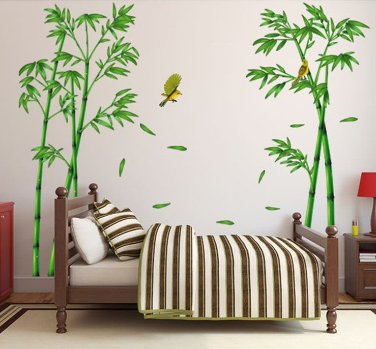 295 165cm bamboo wall stickers large tree decals china for Bamboo mural wallpaper