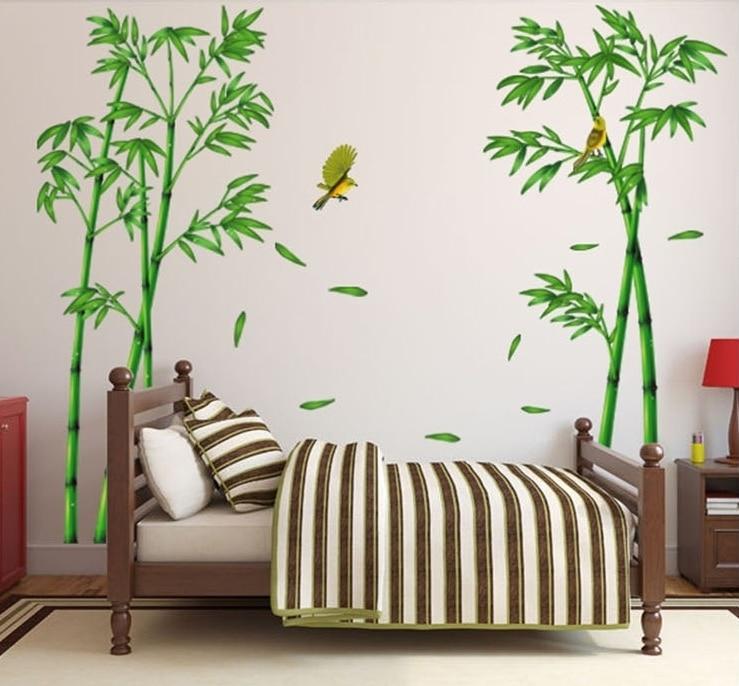 295 * 165cm velký porcelán bambusové lesy samolepky stromů - Dekorace interiéru