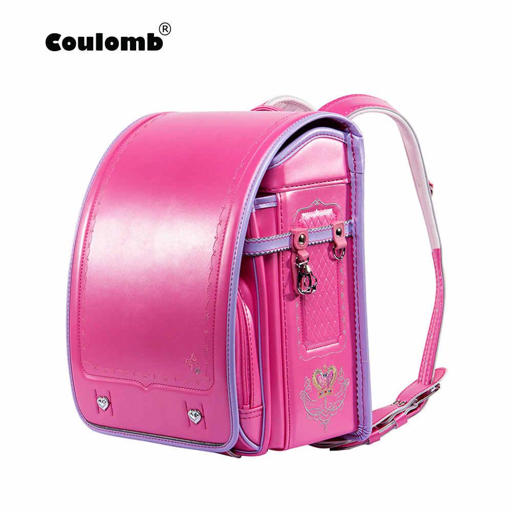 d5fb6d31fc36 Кулоновского детей рюкзак для мальчика и девочки японская школьная сумка PU  HASP лоскутное малыш randoseru студент