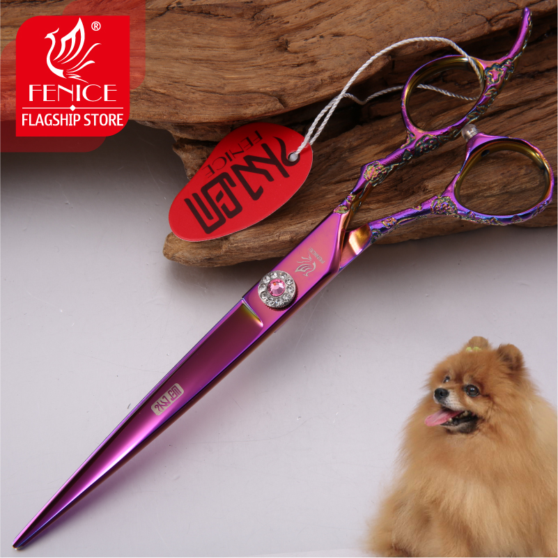 Fencie Professional purple 7 0 inch 8 0 inch imported 440c dog hair grooming cutting shears