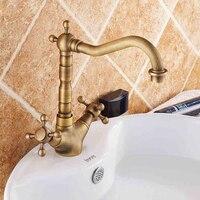 Antique Bronze Finish 360 Degree Swivel Brass Faucet Bathroom Basin Sink Mixer Bath Kitchen Taps Faucet