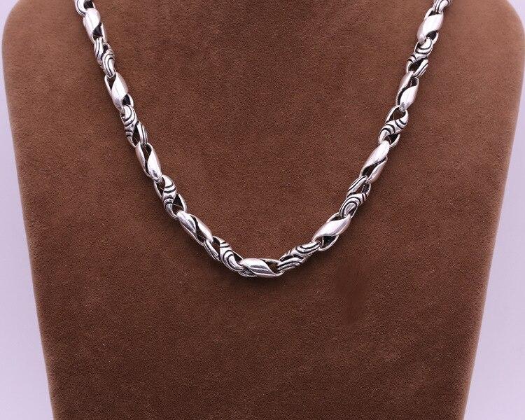 Réel 100% 925 en argent Sterling hommes collier à la mode Punk Style Thai argent lien chaîne mâle collier de mode bijoux cadeaux d'anniversaire - 5