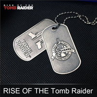 1 Set PS4 Game Anime RISE OF THE Tomb Raider 10 Dog Tag Pendant Metal Limited Collection Action Figure Toys For Man Woman Gift