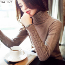 Turtleneck Sweater Jumper Tops Pullovers Knitted Warm Winter Fashion Women And Thick